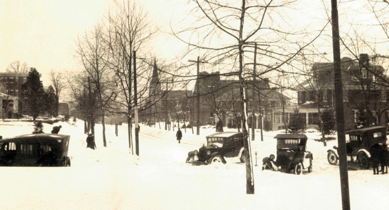 Jan. 27, 1922 -- Cars are stuck in snowdrifts following the storm in 1922. (Baltimore Sun)