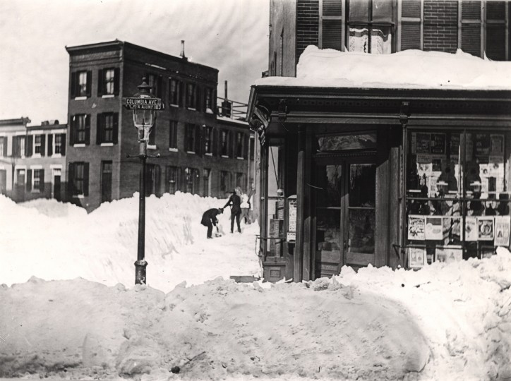February 13, 1899  -- A music store at 636 Columbia Ave., corner of Emory St. is seen after the blizzard. (Baltimore Sun)