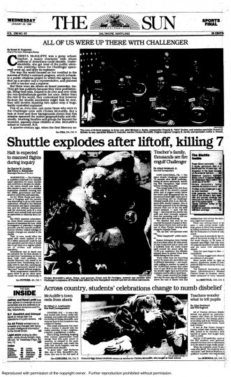 "The Baltimore Sun front page from Wednesday, January 29, 1986. ""Shuttle explodes after liftoff, killing 7"""