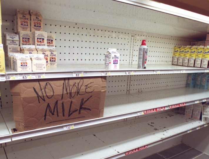 January 11, 1996 -- Late-night shoppers at a Safeway along route 29 in Burtonsville proved to be too late to buy essential supplies like milk. The stores were mostly empty through thursday with news of more snow coming thursday night. (Thomas Graves/Baltimore Sun)