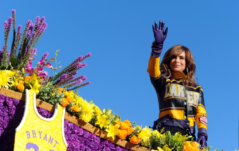 Actress, dancer, singer, and former Laker Girl, Paul Abdul waves from the Los Angeles Lakers' float during the 127th Rose Parade in Pasadena, Calif., Friday, Jan. 1, 2016.(AP Photo/Michael Owen Baker)
