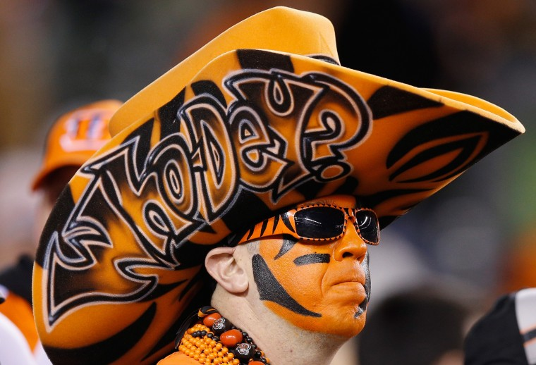 A Cincinnati Bengals fan looks on prior to the AFC Wild Card Playoff game between the Cincinnati Bengals and the Pittsburgh Steelers at Paul Brown Stadium on January 9, 2016 in Cincinnati, Ohio. (Joe Robbins/Getty Images)
