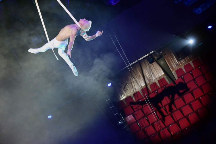 Ukrainian strap act Sergii Novikov performs At the Capital Circus during the 11th edition of the International Circus Festival on January 8, 2016 in Budapest. The festival takes place from January 7 to 11, 2016. (ATTILA KISBENEDEK/AFP/Getty Images)