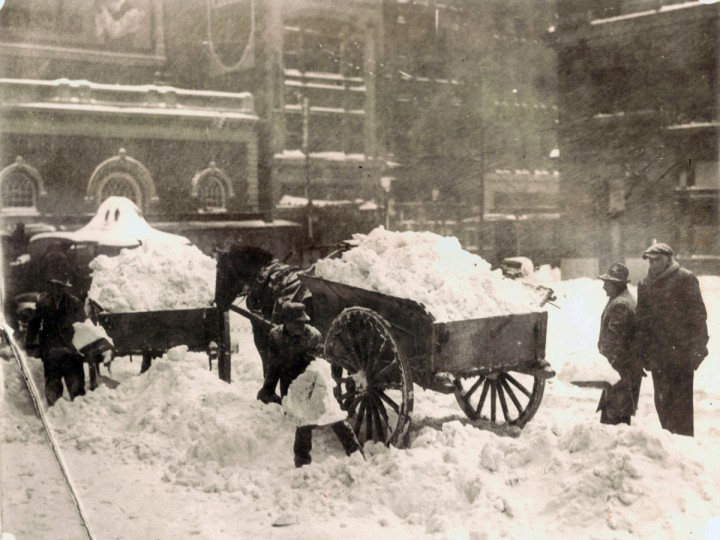 Jan. 27, 1922 -- Horse carts are used to remove snow from Court House Plaza in Baltimore during the Knickerbocker Storm. on January 27, 1922. The storm took its name from the resulting collapse of the Knickerbocker Theatre in Washington, D.C. which killed 98 people and injured 133. (Baltimore Sun)