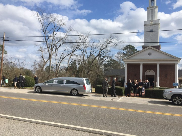 "Friends and family of author Harper Lee leave the First United Methodist Church after a private funeral service, Saturday, Feb. 20, 2016, in Monroeville, Ala. Lee, the elusive author of best-seller ""To Kill a Mockingbird,"" died Friday, Feb. 19, according to her publisher Harper Collins. She was 89. (AP Photo/Kim Chandler)"