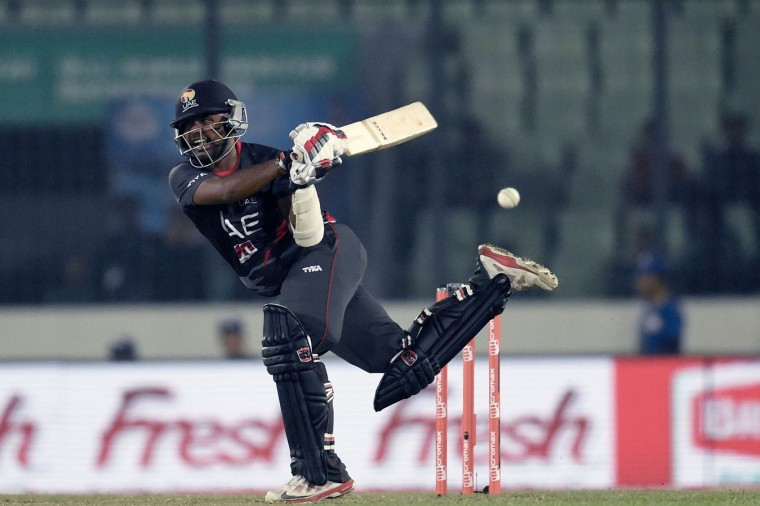 United Arab Emirates cricketer Swapnil Patil plays a shot during the match between Sri Lanka and United Arab Emirates at the Asia Cup T20 cricket tournament at the Sher-e-Bangla National Cricket Stadium in Dhaka on February 25, 2016. (Munir uz Zaman/AFP/Getty Images)