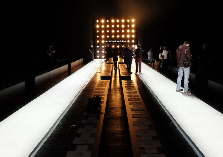 Runway being prepped for the BCBGMAXAZRIA show during Fall 2016 New York Fashion Week: The Shows at The Arc, Skylight at Moynihan Station on February 11, 2016 in New York City. (Photo by Nicholas Hunt/Getty Images)