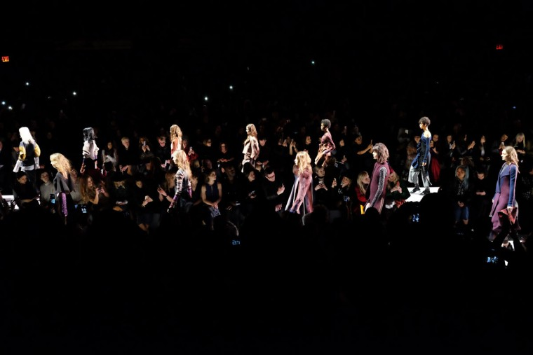 Show Finale for the BCBGMAXAZRIA show during Fall 2016 New York Fashion Week: The Shows at The Arc, Skylight at Moynihan Station on February 11, 2016 in New York City. (Photo by Nicholas Hunt/Getty Images)