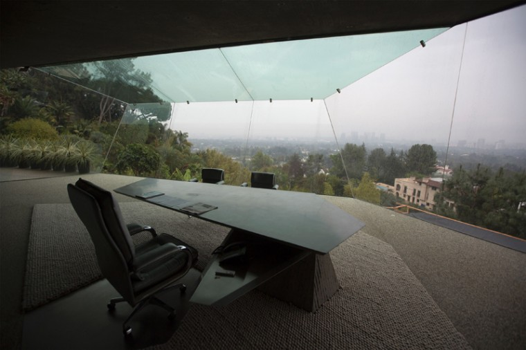 The office is seen during a tour of the John Lautner-designed home being donated to LACMA. (DAVID MCNEW/AFP/Getty Images)