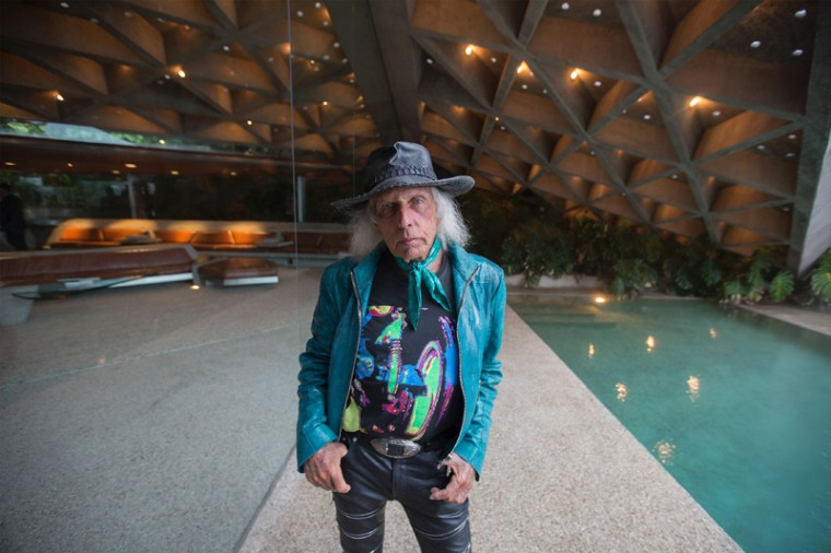 Fashion and basketball aficionado James Goldstein is seen during a tour of the John Lautner-designed home he's donating to the Los Angeles County Museum of Art. (DAVID MCNEW/AFP/Getty Images)