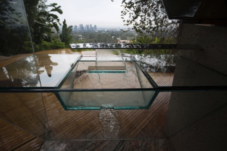A washbasin that drains to recycled use is seen in the master bedroom. (DAVID MCNEW/AFP/Getty Images)