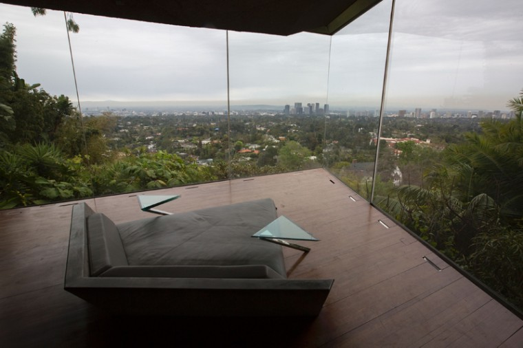 A couch faces the view from the master bedroom during the John Lautner-designed home, being donated to the Los Angeles County Museum of Art by fashion and basketball aficionado James Goldstein. (DAVID MCNEW/AFP/Getty Images)
