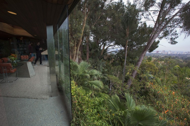 Hillside tropical foliage surrounds the John Lautner-designed home being donated to the Los Angeles County Museum of Art. (DAVID MCNEW/AFP/Getty Images)
