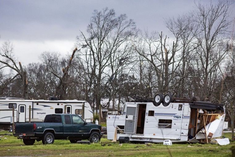 Damaged RVs sit at Sugar Hill RV Park following a storm in Convent, La., Wednesday, Feb. 24, 2016. Tornadoes and severe weather ripped through the Gulf Coast on Tuesday, mangling trailers at an RV park and ripping off roofs from buildings in Louisiana and Mississippi, authorities said. (AP Photo/Max Becherer)