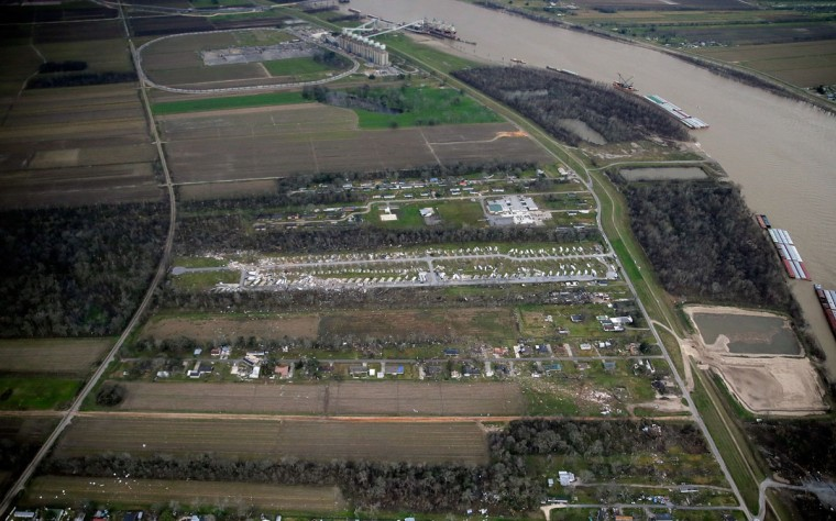 This aerial photo shows damage after a tornado ripped through the Sugar Hill Recreational Park in the town of Convent, in southern La., Wednesday, Feb. 24, 2016. Tornadoes ripped through the RV park in Louisiana and significantly damaged nearly 100 homes and apartments in Florida as a deadly storm system rolled across the South, and forecasters warned that more twisters were possible Wednesday along the East Coast. (David Grunfeld /NOLA.com The Times-Picayune via AP)