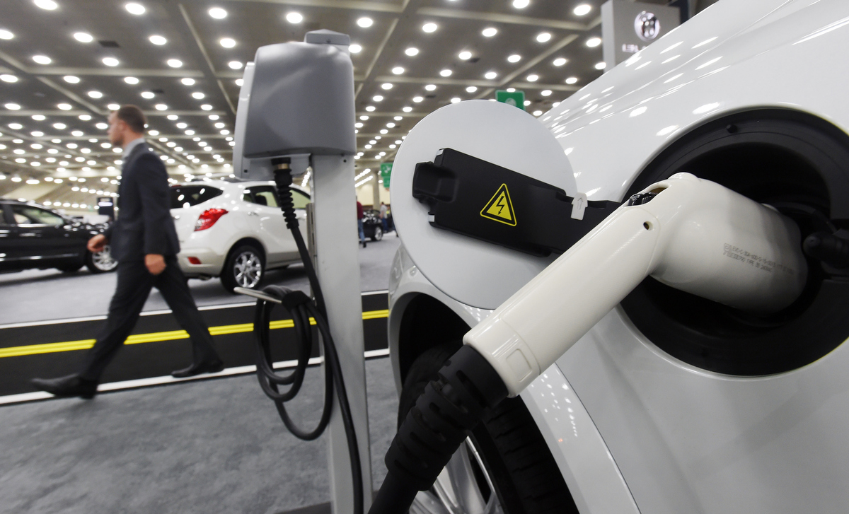 The electric plug in of a volvo xc 90 is seen at the 2016 for Electric motor repair baltimore