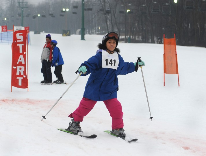 Janee McAllister, 10 of Baltimore, skis in the Super Glide event at the winter 2016 Special Olympics, which was held at Whitetail Ski Resort.  (Barbara Haddock Taylor/Baltimore Sun)
