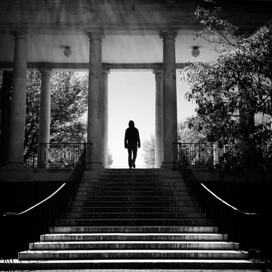 A student at Johns Hopkins walks through campus.   (Lloyd Fox/Baltimore Sun)