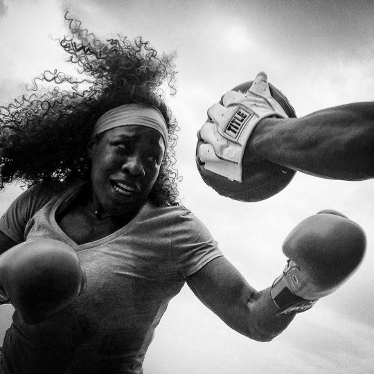 Franchon Crews, The Heavy Hitting Diva during her boxing workouts in Baltimore.   (Lloyd Fox/Baltimore Sun)
