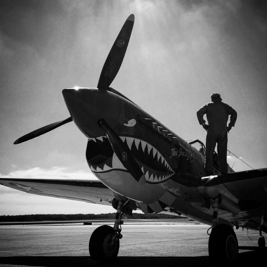 A pilot stands on the wing of his P40 Warhawk WWII fighter plane at Andrews Air Force Base.   (Lloyd Fox/Baltimore Sun)