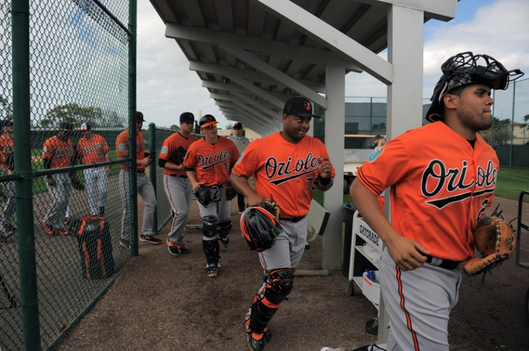 Baltimore Orioles catchers Francisco Pena (right) and Audry Perez (75) lead some of the squad to one of the practice fields during spring training practice at the Ed Smith Stadium complex. (Karl Merton Ferron/Baltimore Sun)