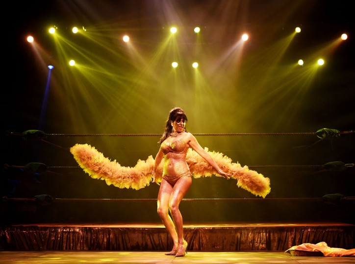 "Striptease artist Moana Santana performs for the audience during the Lucha Va Voom's ""Crazy in Love"" show at the Mayan Theatre in downtown Los Angeles, California on February 10. (MARK RALSTON/AFP/Getty Images)"