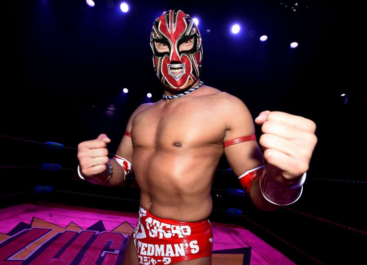 "Japanese wrestler Kahmora poses during the Lucha Va Voom's ""Crazy in Love"" show at the Mayan Theatre in downtown Los Angeles, California on February 10, 2016. (MARK RALSTON/AFP/Getty Images)"