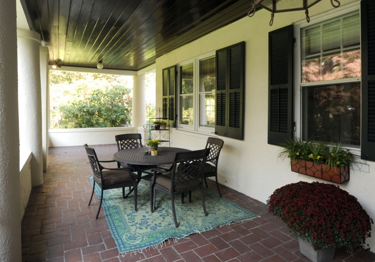 The front porch of the dream home of Amy and Tim Askew, which is in Roland Park. (Baltimore Sun photo by Barbara Haddock Taylor, Oct. 24, 2012)