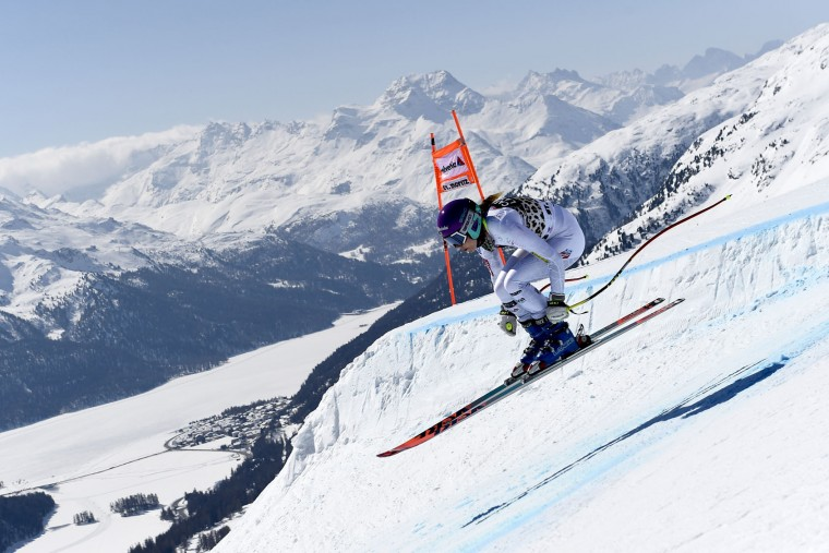 Laurenne Ross of the USA competes during the Audi FIS Alpine Ski World Cup Finals Women's Downhill Training on March 14, 2016 in St. Moritz, Switzerland. (Photo by Alain Grosclaude/Agence Zoom/Getty Images)