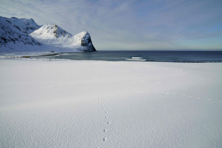 The snowy field of Unstad is photographed, in Lofoten archipelago, Arctic Circle, on March 9, 2016. (OLIVIER MORIN/AFP/Getty Images)