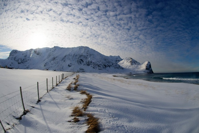 The beach of Unstad is photographed, in Lofoten archipelago, Arctic Circle, on March 9, 2016. (OLIVIER MORIN/AFP/Getty Images)