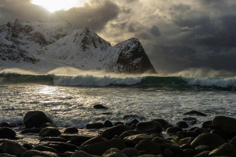 The beach of Unstad is photographed under a strong wind at the end of afternoon, in Lofoten archipelago, Arctic Circle, on March 10, 2016. (OLIVIER MORIN/AFP/Getty Images)
