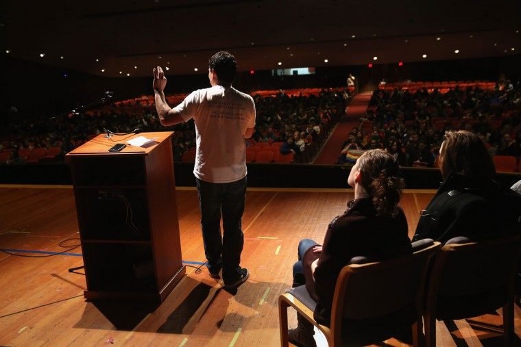 GROTON, CT - FEBRUARY 26: Joe de la Cruz, who's son is in recovery from heroin addiction, speaks to students at Fitch Senior High School to educate them about the dangers of opioid painkiller medication and heroin addiction on February 26, 2016 in Groton, CT. The group Communities Speak Out held the event to combat the epidemic of overdoses and deaths sweeping the area. On March 15, the U.S. Centers for Disease Control (CDC), announced guidelines for doctors to reduce the amount of opioid painkillers prescribed nationwide. The CDC estimates that most current heroin addicts first became hooked on prescription pain medication, and of those, many started as adolescents. (John Moore/Getty Images)