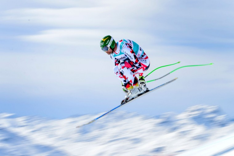 Austria's Klaus Kroell jumps during the men's downhill practice at the FIS Alpine Ski World Cup Finals, in St. Moritz on March 15, 2016. (Fabrice Coffrini/AFP/Getty Images)