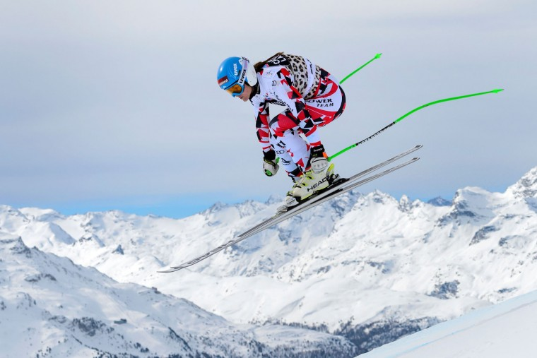 Austria's Elisabeth Goergl jumps during the women's downhill practice at the FIS Alpine Ski World Cup Finals, in St. Moritz on March 15, 2016. (Fabrice Coffrini/AFP/Getty Images)