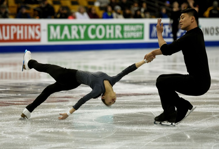Xuehan Wang and Lei Wang of China are seen during the Pairs practice session March 29, 2016 during the 2016 ISU World Figure Skating Championships at Boston's TD Garden March 28-April 3. (Timothy A. Clary/AFP/Getty Images)