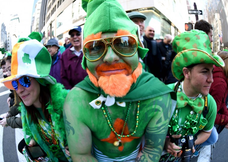 Parade goers pose on 5th Avenue during the 255th New York City St Patrick's Day Parade on Thursday. (TIMOTHY A. CLARY/AFP/Getty Images)