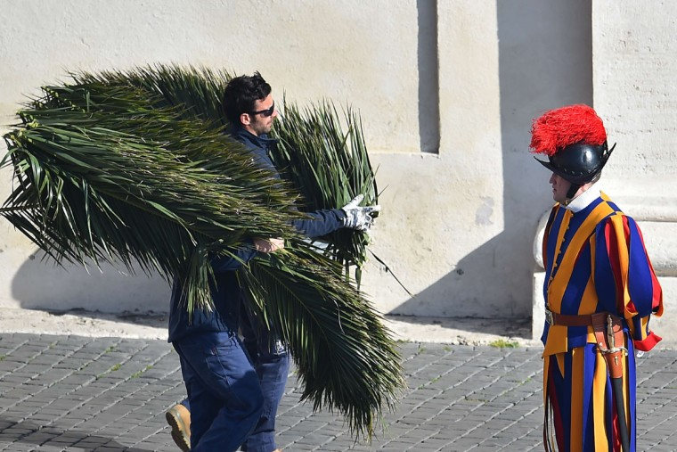 Men carrying palms walk past a Swiss Guard before the Palm Sunday mass in St Peter's square on March 20, 2016 in Vatican. Palm Sunday is the final Sunday of Lent, the beginning of the Holy Week, and commemorates the triumphant arrival of Jesus Christ in Jerusalem, days before he was crucified. (AFP PHOTO / VINCENZO PINTO)