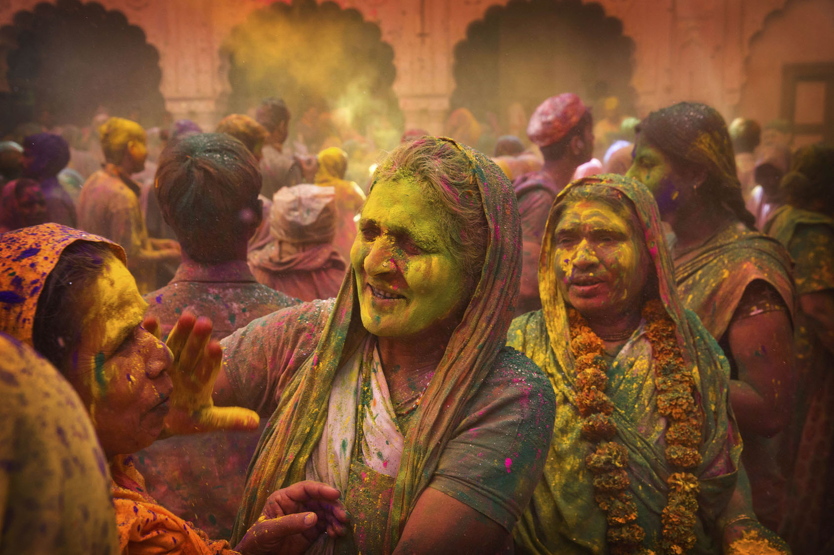 Indian Hindu widows celebrate Holi