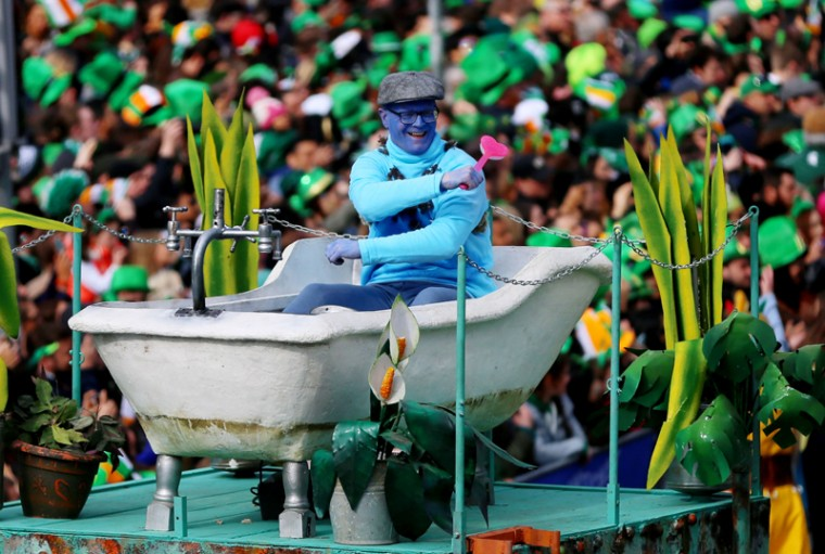 Participants take part in the St Patrick's Day parade on the streets of Dublin on Thursday. (Niall Carson/PA via AP)