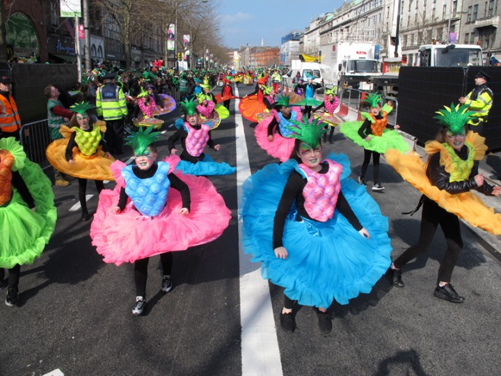 Performers from Ireland''s Artastic cultural group parade down O'Connell Street on St. Patrick''s Day in Dublin, Ireland, on Thursday. (Shawn Pogatchnik/AP)