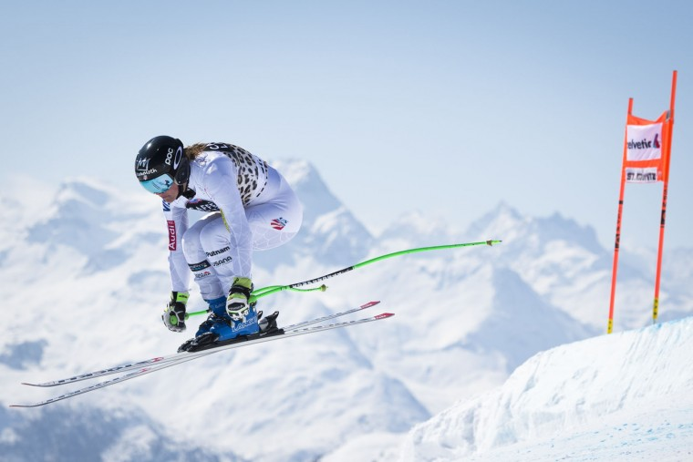 Stacey Cook of the USA competes during the women's downhill training session at the FIS Alpine Ski World Cup Finals, in St. Moritz, Switzerland, Monday, March 14, 2016. (Gian Ehrenzeller/Keystone via AP)