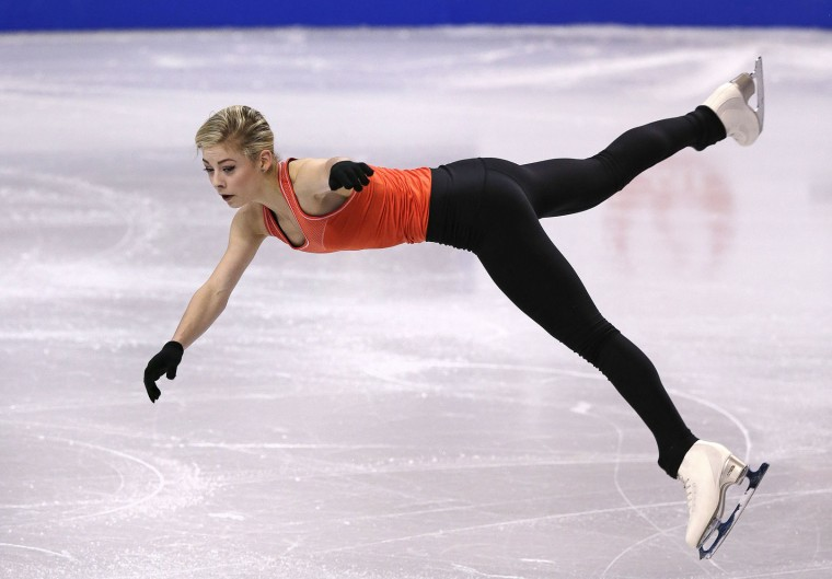 Gracie Gold, of the United States, leaps during a ladies practice session prior to the World Figure Skating Championships in Boston, Tuesday, March 29, 2016. (AP Photo/Charles Krupa)