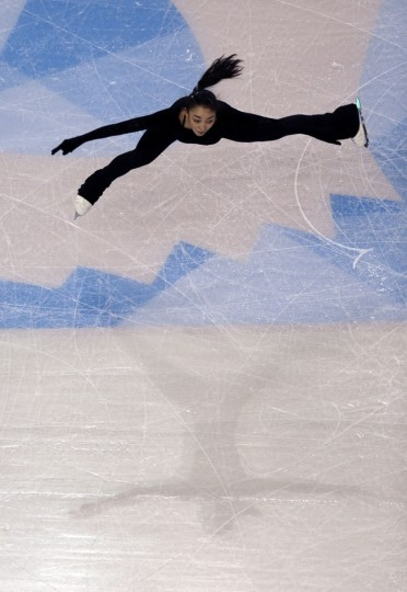 Rika Hongo, of Japan, during a ladies practice session prior to the 2016 World Figure Skating Championships in Boston, Monday, March 28, 2016. (AP Photo/Charles Krupa)