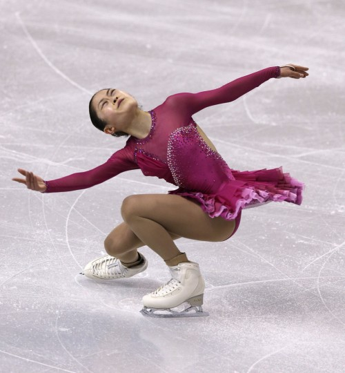 Satoko Miyhara, of Japan, during a ladies practice session prior to the World Figure Skating Championships in Boston, Tuesday, March 29, 2016. (AP Photo/Charles Krupa)