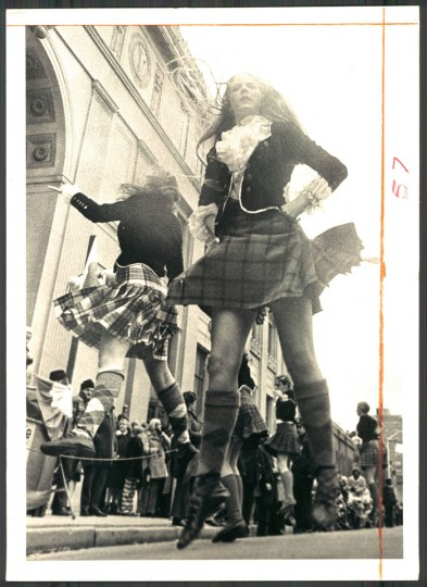 """""""...and comely lasses dance a jig in front of the Pratt."""" March 1973."""