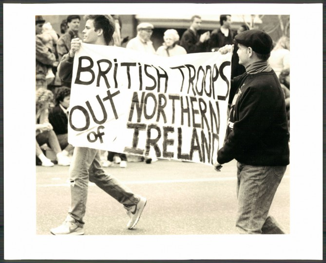 Political statements at the St. Patrick's Day parade in March 1989.