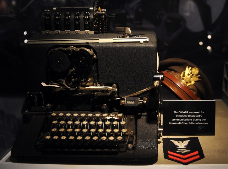 A SIGABA cipher machine that was used for President Roosevelt's communications during his World War II  conferences with Winston Churchill is on display at the National Cryptologic Museum.  (Barbara Haddock Taylor/Baltimore Sun)