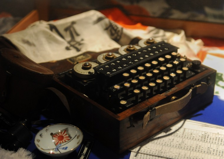 This is a detail of a Japanese Enigma-type cypher machine  from World War II that is on display at the National Cryptologic Museum.  (Barbara Haddock Taylor/Baltimore Sun)