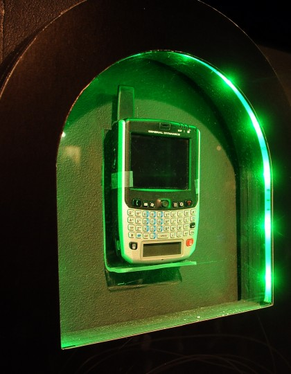 This is an SME PED, (Secure Mobile Environment Portable Encryption Device) which was the first rugged handheld mobile device that allowed users in the FBI and the U.S. military to switch between classified and unclassified networks.  It iwas used around 2007-2008 and is on display at the National Cryptologic Museum.  (Barbara Haddock Taylor/Baltimore Sun)